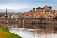 埃布罗河和城堡在托尔托萨角 库存图片