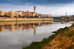 埃布罗河看法在托尔托萨角 免版税库存照片
