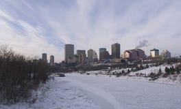 埃德蒙顿,亚伯大冬天地平线 免版税库存照片