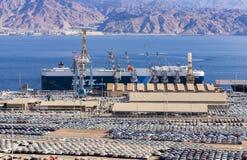 埃拉特,以色列- 2018年1月04日:在海洋货物商业口岸的看法在埃拉特 图库摄影