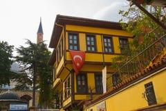 埃斯基谢希尔,土耳其:有土耳其旗子的传统清真寺的房子和尖塔在街道上的 库存照片