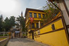 埃斯基谢希尔,土耳其:有土耳其旗子的传统清真寺的房子和尖塔在街道上的 库存图片