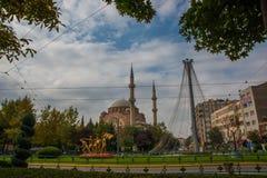 埃斯基谢希尔,土耳其:雷沙迪耶街和雷沙迪耶清真寺视图在埃斯基谢希尔市 库存照片