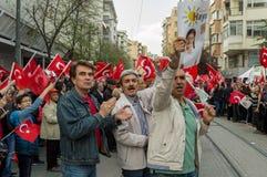 埃斯基谢希尔,土耳其- 2017年4月15日:展示的人们说不在街道的公民投票的 免版税图库摄影