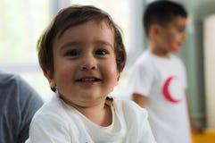 埃斯基谢希尔,土耳其- 2017年5月05日:甜小男孩在幼儿园教室 免版税库存照片