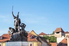 埃格尔和Dobo雕象,匈牙利城堡  库存图片