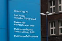埃森,北莱茵-威斯特法伦/德国- 22 11 18:蒂森克虏伯股份公司quartier总部在埃森德国 免版税库存照片