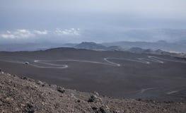 从埃特纳火山火山的顶端一个看法 免版税库存图片
