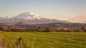 埃特纳火山,西西里岛的美丽的火山 免版税库存图片
