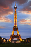 埃菲尔・法国晚上巴黎塔 库存照片