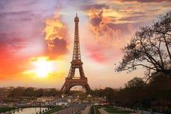 埃菲尔夜间法国巴黎塔 库存图片