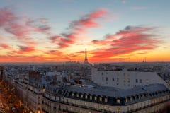 巴黎 埃菲尔日落塔 免版税库存图片
