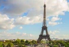 埃菲尔游览和从Trocadero,巴黎 免版税库存照片