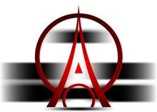 埃菲尔铁塔商标象,最低纲领派样式 标志法语,巴黎,假日,旅行游览 黑剪影高楼埃菲尔铁塔 皇族释放例证
