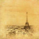 埃菲尔・法国图象巴黎塔葡萄酒 免版税库存照片