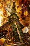 埃菲尔grunge照片塔 库存照片