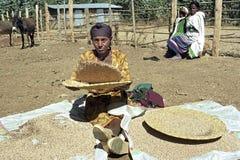 埃赛俄比亚的妇女将从五谷分离谷壳 免版税库存照片