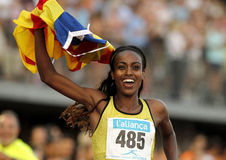 埃赛俄比亚的运动员Genzebe Dibaba 免版税图库摄影