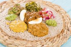 埃赛俄比亚的宴餐- Injera 免版税库存照片