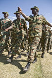 埃赛俄比亚陆军战士前进 免版税库存照片