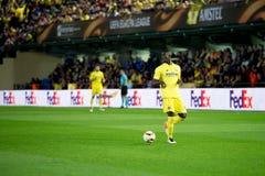 埃里克巴伊使用在比亚雷亚尔锎和利物浦足球俱乐部之间的欧罗巴同盟半决赛 库存图片