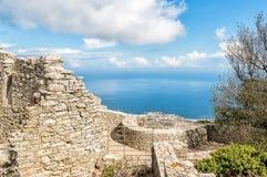 从埃里切,意大利金星城堡的全景  免版税库存图片