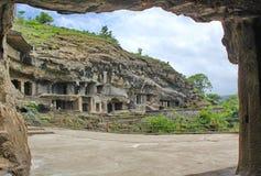 埃洛拉石窟,最长的石头雕刻了洞,印度 免版税库存图片