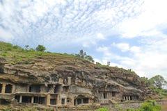 埃洛拉石窟,最长的石头雕刻了洞,印度 免版税库存照片