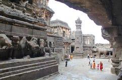 埃洛拉石窟, Kailasa寺庙,不使16,印度陷下 免版税库存图片