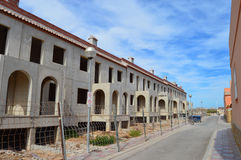 城内住宅行被修造的 图库摄影
