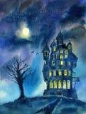 城堡、树、月亮和棒风景  神秘的夜视图 库存例证