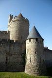 城堡中世纪塔墙壁 库存图片