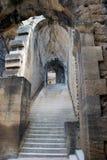 城堡中世纪楼梯 免版税图库摄影