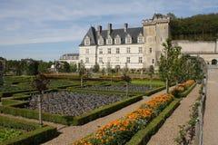 城堡从事园艺villandry的Loire Valley 免版税库存照片