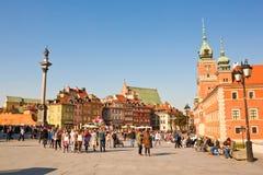 城堡全景波兰方形华沙 免版税图库摄影