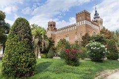 城堡公园和植物的宫殿概要在巴塞罗那 库存图片