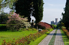 城堡公园SigurtÃ,维罗纳,威尼托的看法 库存图片