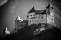城堡利希滕斯泰因瓦杜兹视图 库存图片