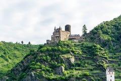 城堡卡茨上午莱茵德国 图库摄影