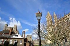 城堡和大教堂的看法在罗切斯特 免版税库存图片