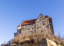 城堡和教会在奎德林堡,德国 免版税库存图片