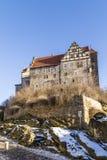 城堡和教会在奎德林堡,德国 库存图片