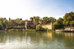 城堡在中世纪村庄,都灵 图库摄影