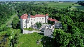 城堡在克拉科夫,波兰附近的Pieskowa Skala 股票视频
