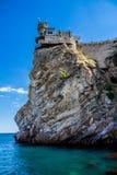 城堡在雅尔塔附近的燕子S巢在克里米亚 图库摄影