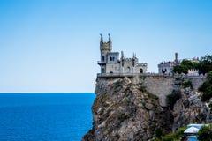 城堡在雅尔塔附近的燕子S巢在克里米亚 库存图片