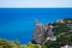城堡在雅尔塔附近的燕子S巢在克里米亚 免版税库存照片