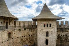 城堡在索罗卡,中世纪堡垒 中世纪堡垒建筑细节在索罗卡,摩尔多瓦 库存图片
