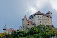 城堡在Balzers,利希滕斯泰因 库存照片