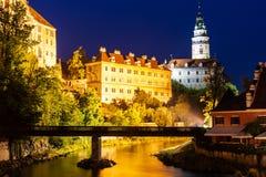 城堡在nigt的捷克克鲁姆洛夫在捷克 图库摄影